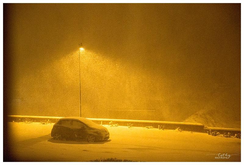 Tempête de neige le soir de notre arrivée. Nous étions comme des enfants !